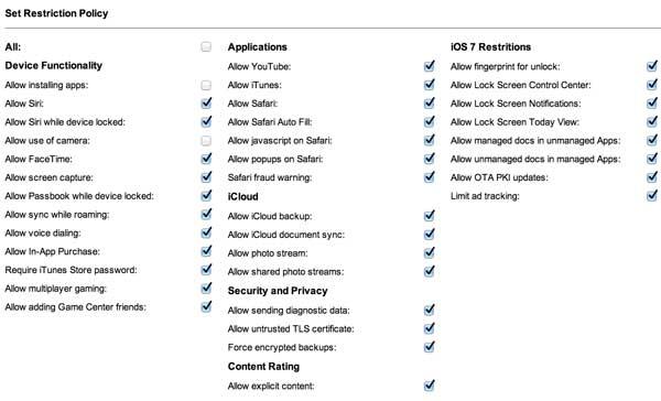 sicurezza dati ipad - mobile policy
