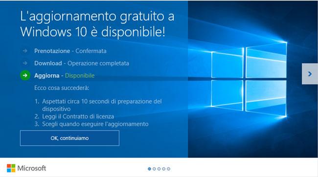 Aggiornamento Windows 10 gratuito