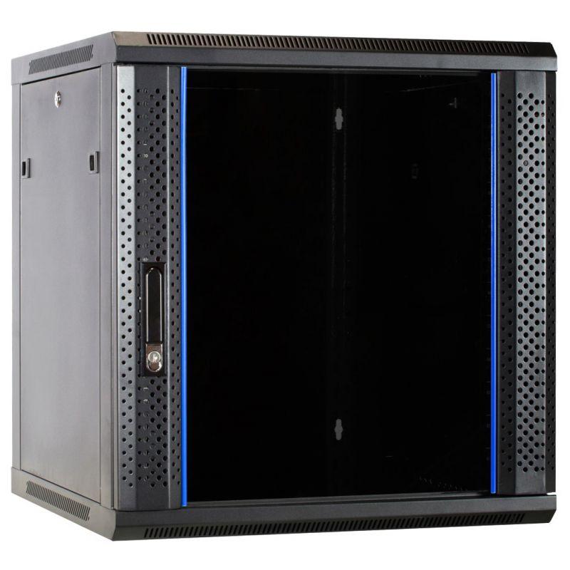 12u wall mount rack with glass door 600x600x635mm wxdxh