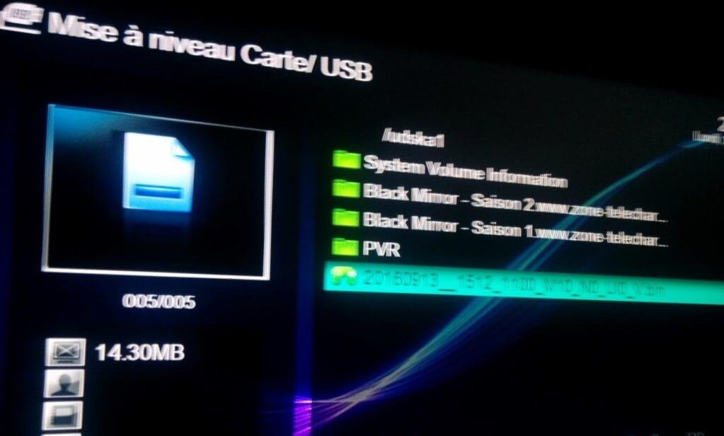 Mise à jour de VISION CLEVER 4 par USB etape 6