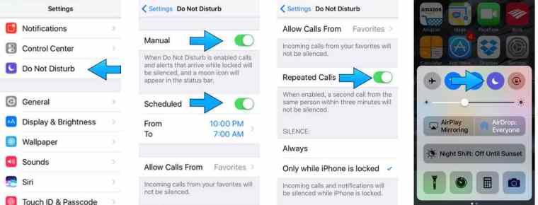 Settings in iPhone for Do Not Disturb Mode