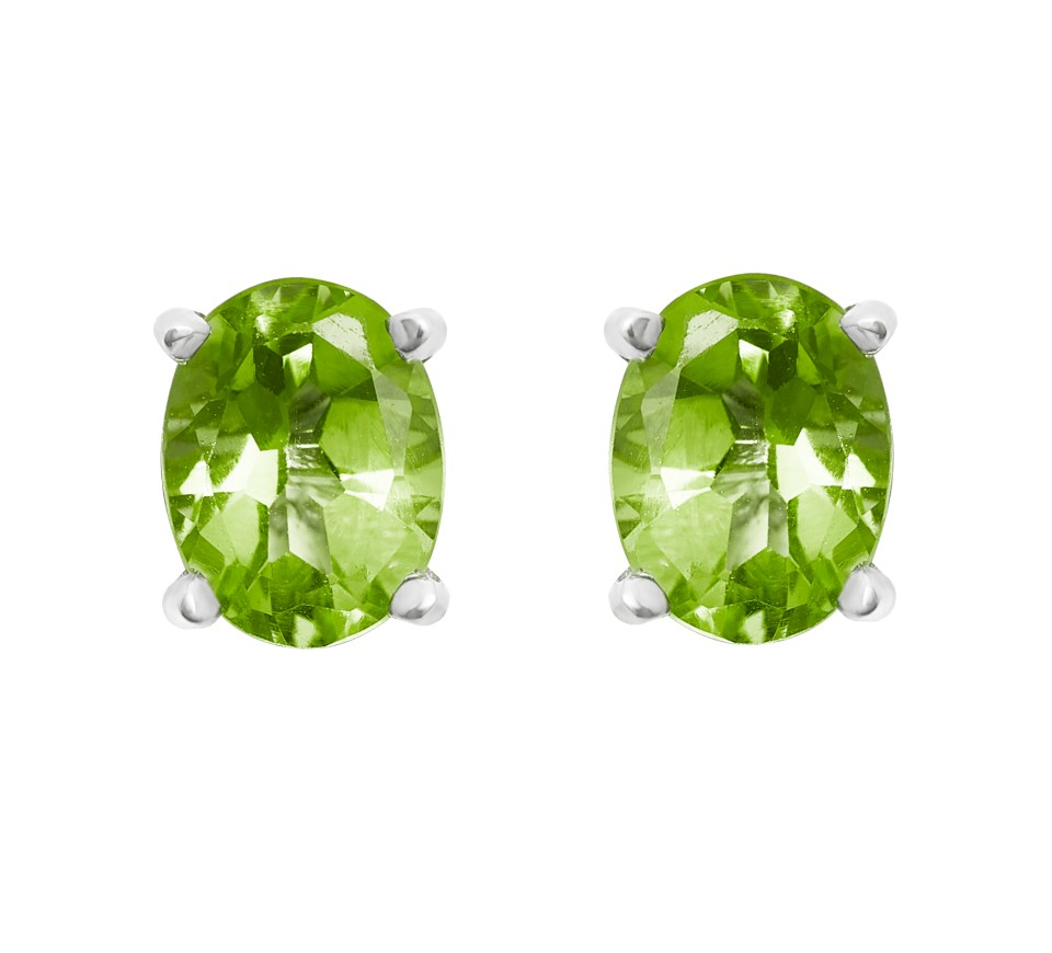 oval cut peridot earrings