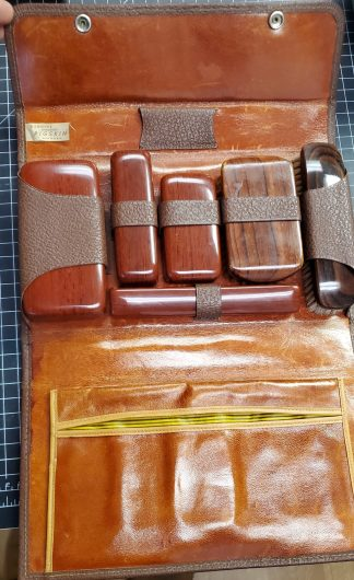 Vintage Leather Personal Items Travel Kit