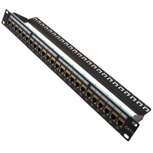 "19"" 1U 24 way Cat6A Through Coupler Patch Panel, Shielded"