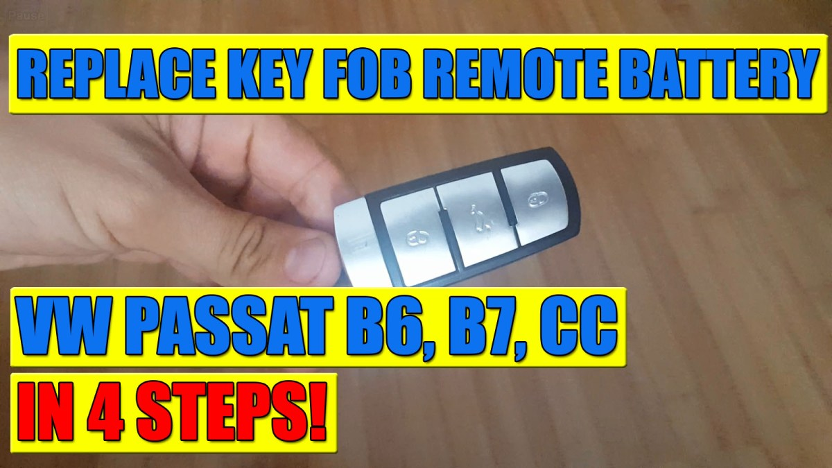 How to change / replace VW Passat B6, B7, CC Kessy key fob remote battery in 4 steps