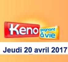 résultat keno 20 avril 2017