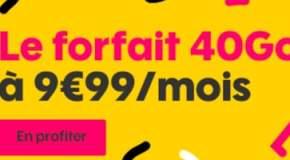 Promo SOSH Forfait illimité + 40Go à 9.99€ par mois pendant 1 an