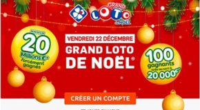 FDJ : Grand Loto de Noël le 22 Décembre 2017 20 Millions d'euros à gagner