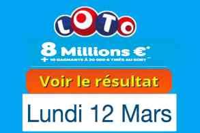 résultat loto 12 Mars 2018