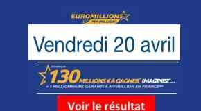 Résultat Euromillions et My Million (FDJ) vendredi 20 Avril 2018 [En Ligne]