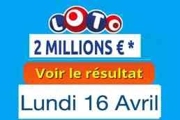 résultat loto 16 avril 2018