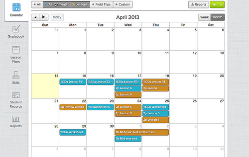 Homeschool Minder calendar view