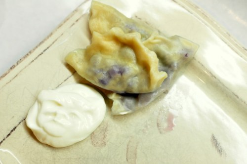 blueberry perogies with sweetened sour cream
