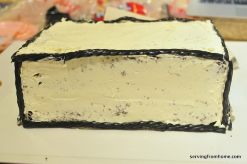 Aquarium Cake crumb coated and outlined