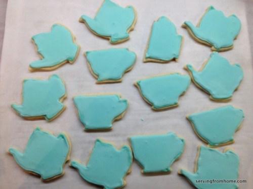 Teal teapot and tea cup sugar cookies