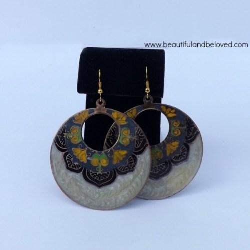 B&B hand painted earrings
