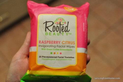 Rooted Beauty Raspberry Citrus invigorating facial wipes