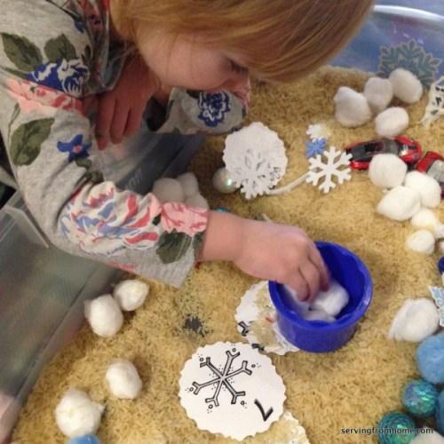 snowflake counting sensory bin