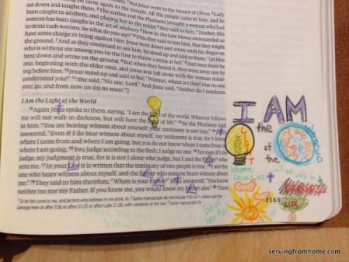 John 8:12 bible art journaling