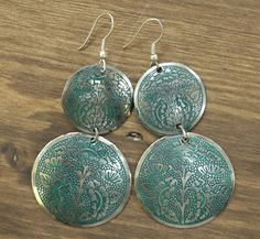 Rahab's Rope teal and silver enameled earrings