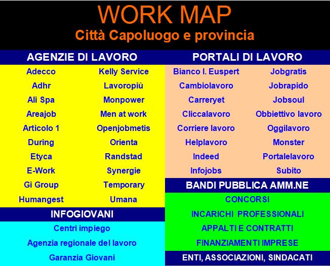 Scarica La Work Map Della Tua Provincia Agenzie E Portali