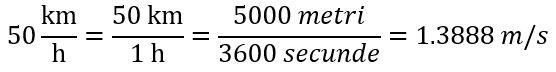 transformarea vitezei din 50km