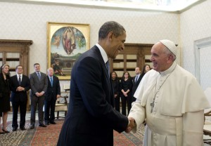 Pope Francis (R) and US President Barack Obama shake hands during a private audience on March 27, 2014 at the Vatican. The meeting at the Vatican comes as a welcome rest-stop for Obama during a six-day European tour dominated by the crisis over Crimea, and the US leader will doubtless be hoping some of the pope's overwhelming popularity will rub off on him.    AFP PHOTO / SAUL LOEBSAUL LOEB/AFP/Getty Images ORIG FILE ID: 528417492