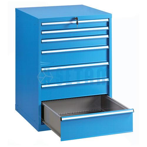 armoire metallique g avec 7 tiroirs coloris bleu