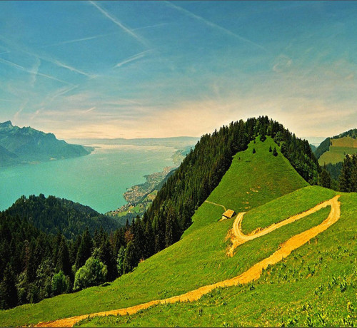 Footpath, The Alps, Switzerland