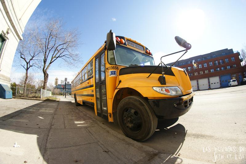 blog voyage canada pvt montreal bus scolaire jaune