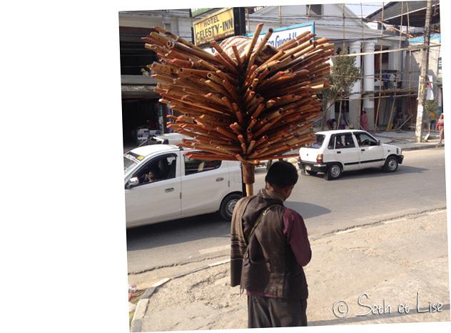 Parapluie népalais? Non un marchand de flutes! Attention aux coups de vent!