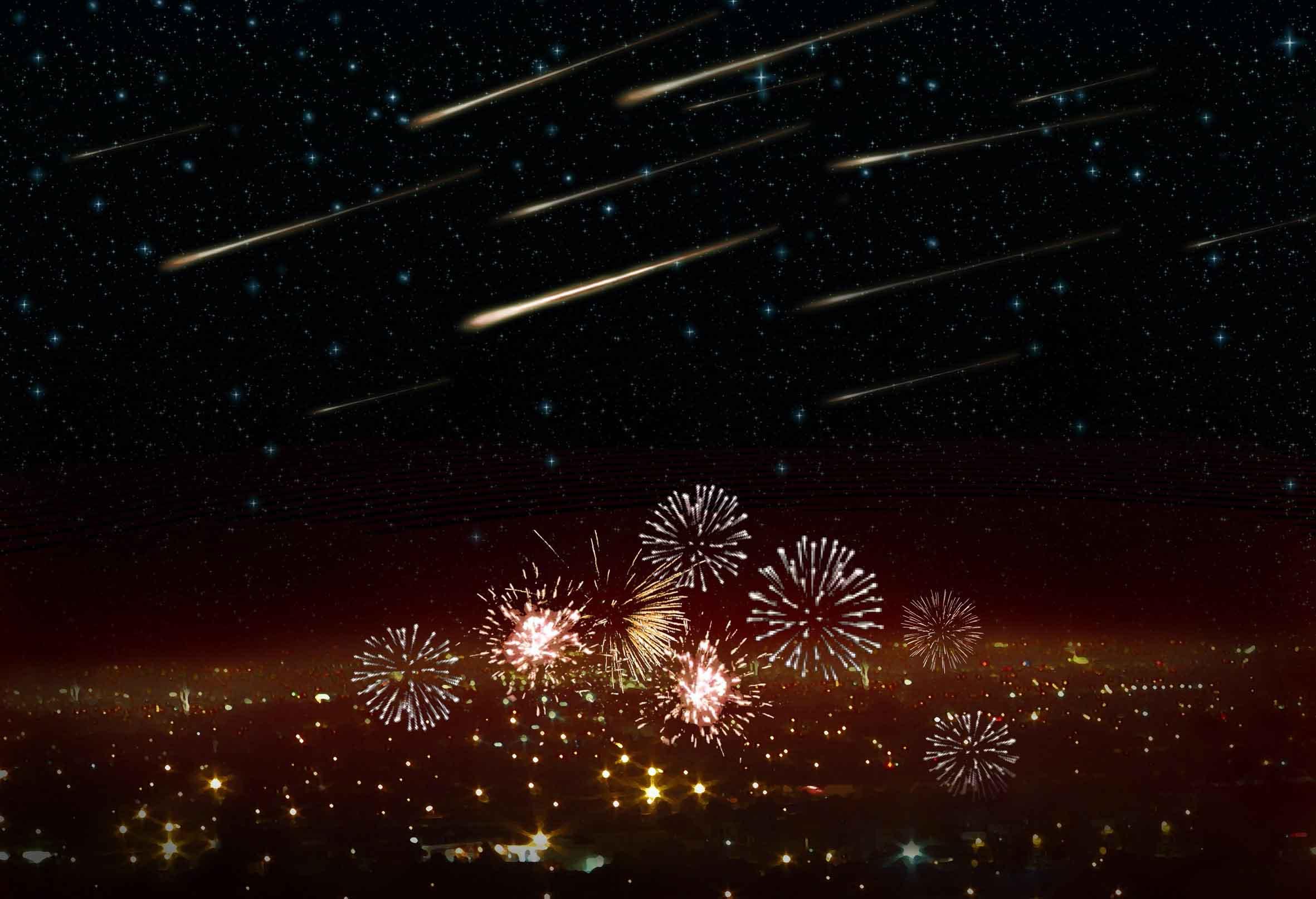 New Year's Eve meteor shower. Illustration: Danielle Futselaar/SETI Institute.