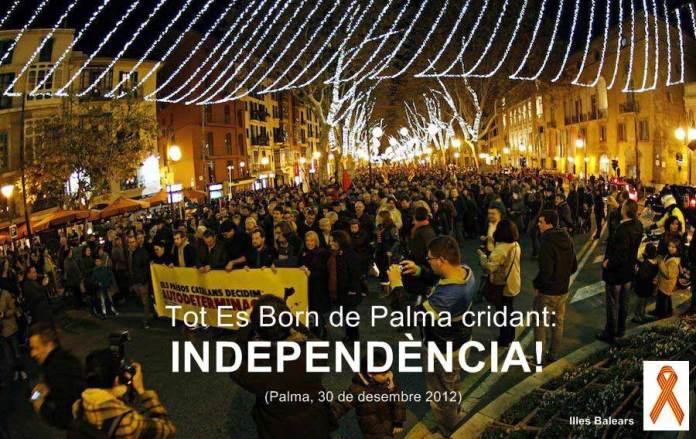 imatge de manifestació al Born de Palma per a la indenpendència dels països catalans