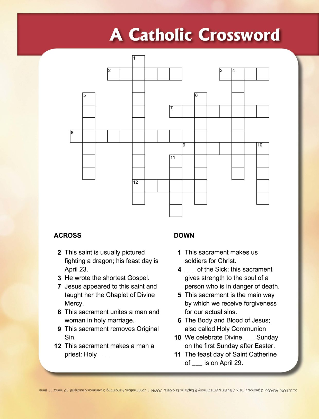 St George Amp Sacraments Crossword