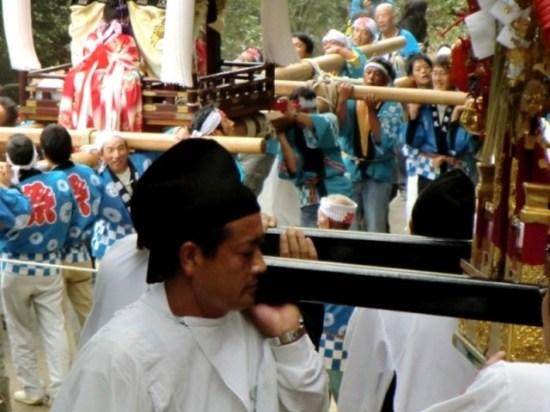 Priest carrying the Mikoshi at the Karato Matsuri on Teshima