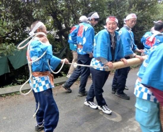 Mr. Yamada and other People at the Karato Matsuri on Teshima