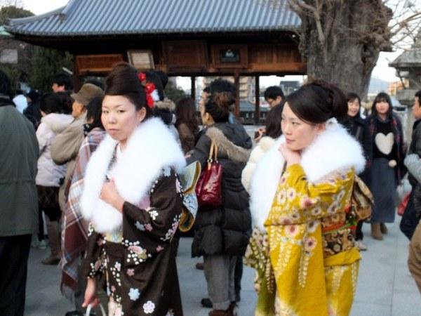 Young women wearing kimono for hatsumode