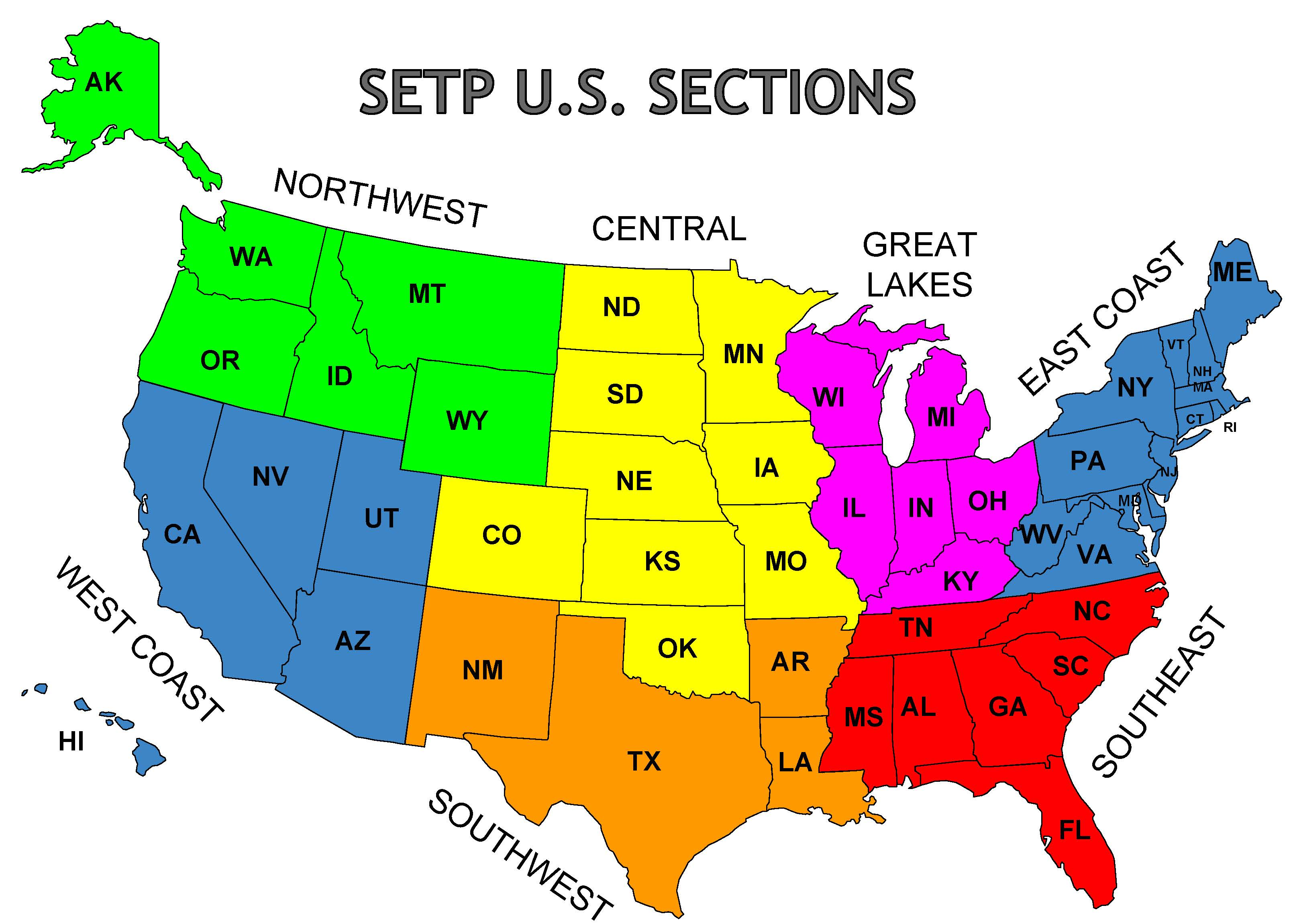 Map Of Setp U S Sections