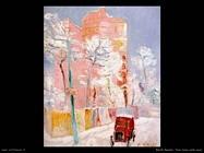 Taxi rosso nella neve