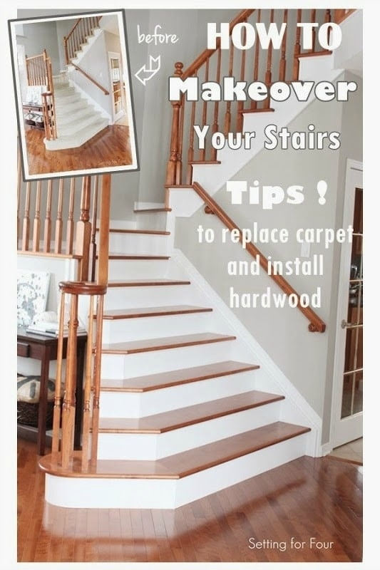 How To Makeover Your Stairs Find A Good Pro Tips To Replace   Carpeted Stairs To Wood   Brown Flooring   Wooden   Vinyl Plank   Middle Open Concept   Carpeting