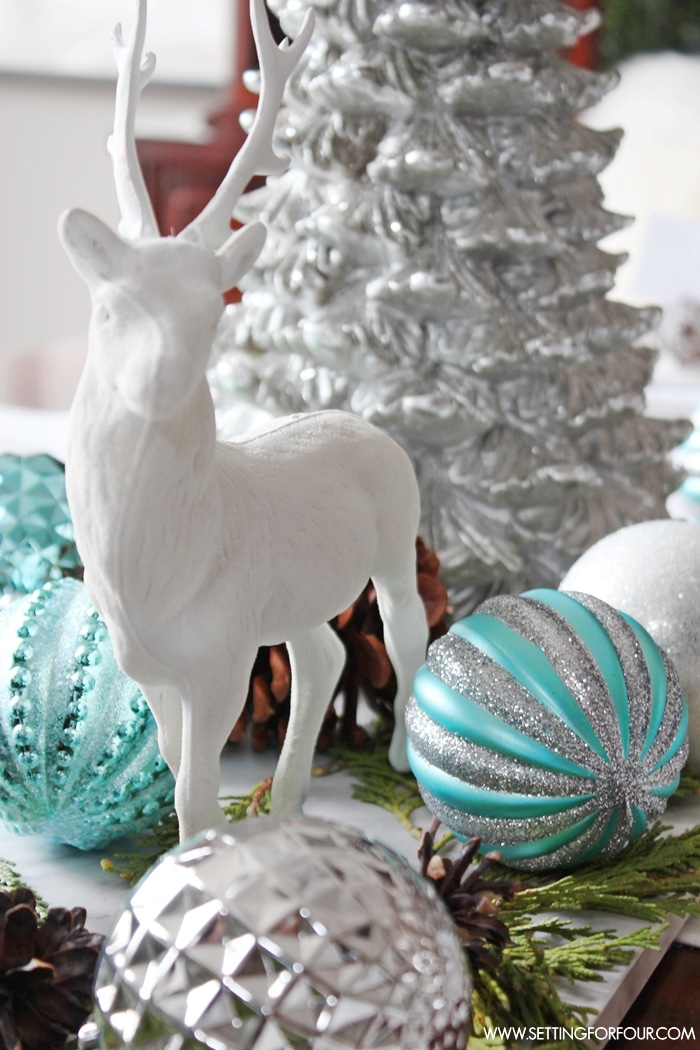 Winter Woodland Glam Christmas Centerpiece Setting For Four