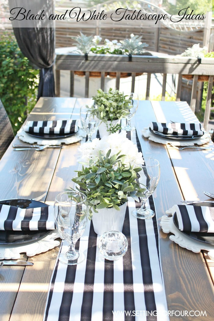 Summer Lodge Deck Decor Source List - Setting for Four on Black And White Backyard Decor  id=36057