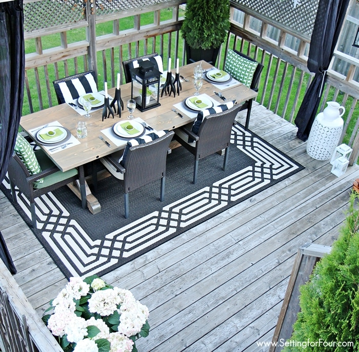 Summer Deck Decor Ideas for Outdoor Living - Setting for Four on Black And White Backyard Decor  id=96435