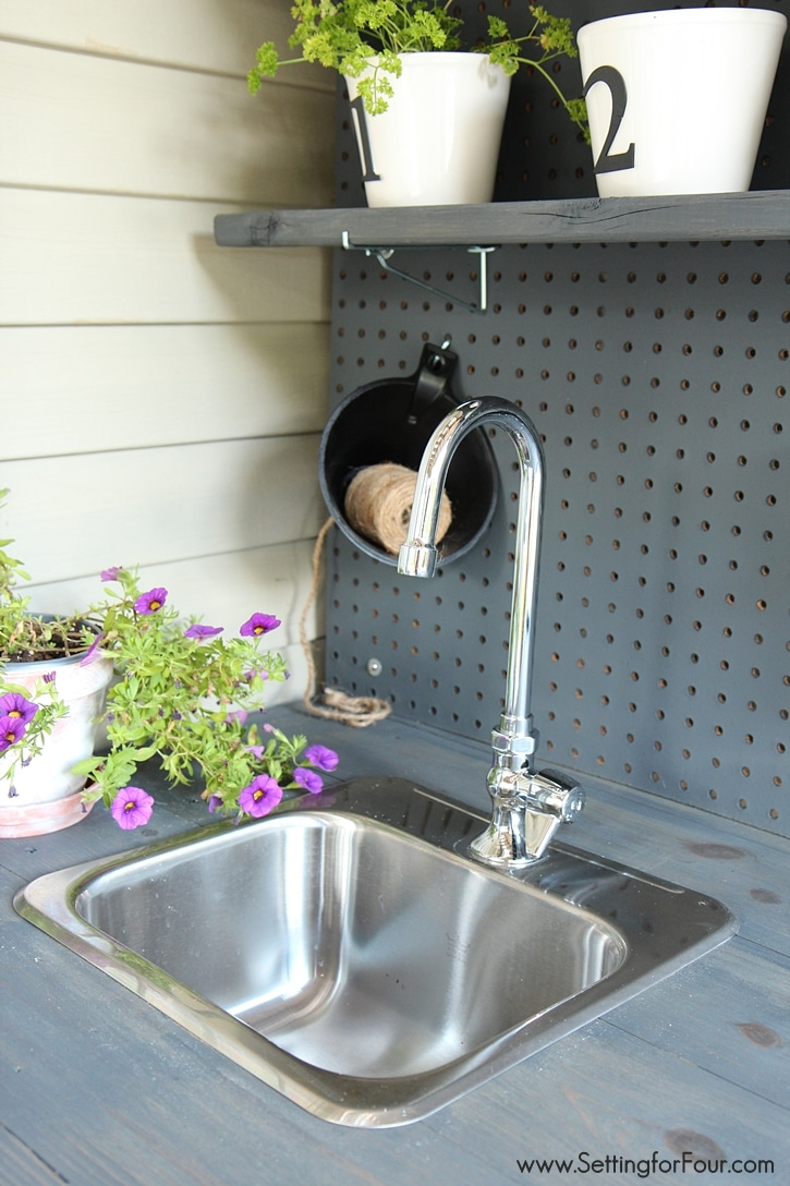 make it diy potting bench with sink