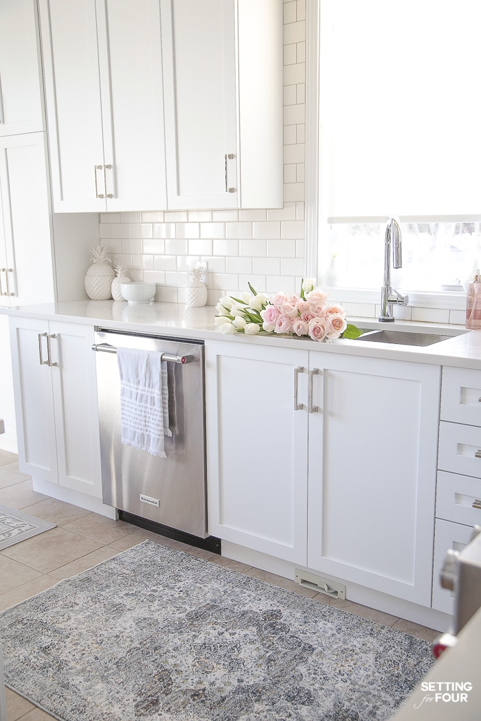 Light and Bright Spring Kitchen Decor Ideas - Setting for Four on Kitchen Countertop Decor  id=16285