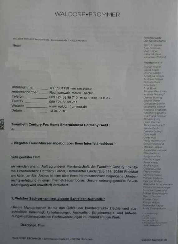 Cease and desist letter file sharing germany