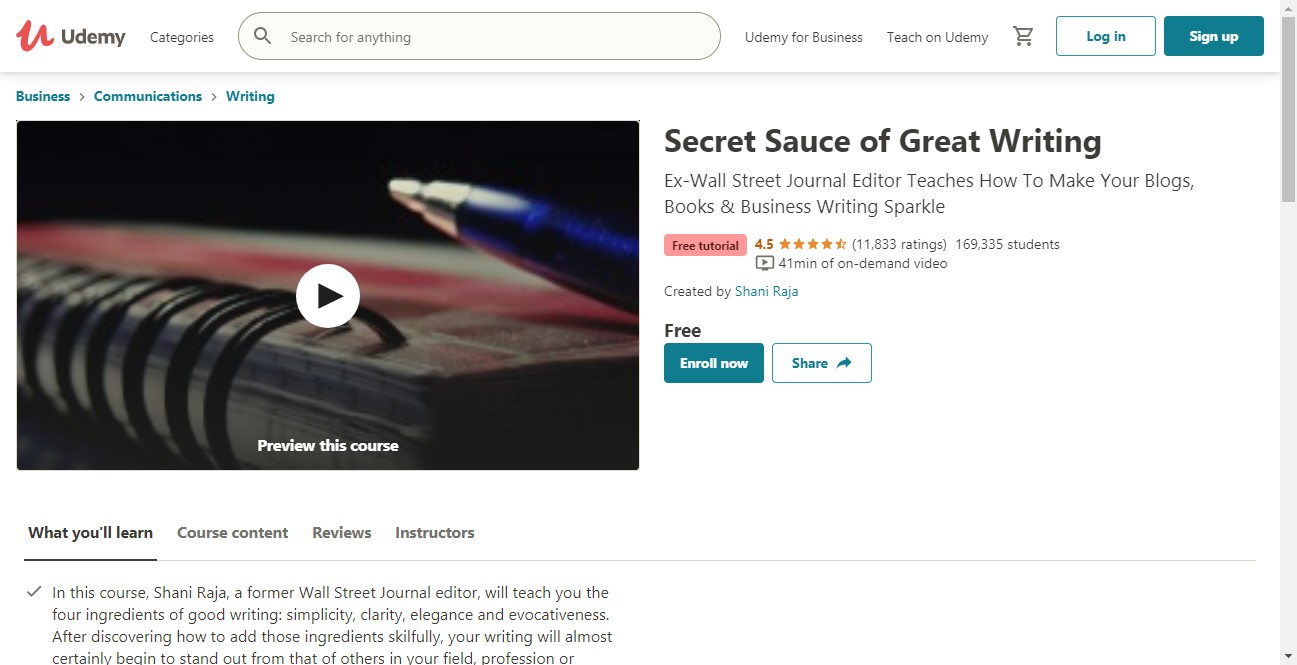(Free Course) Secret Sauce of Great Writing