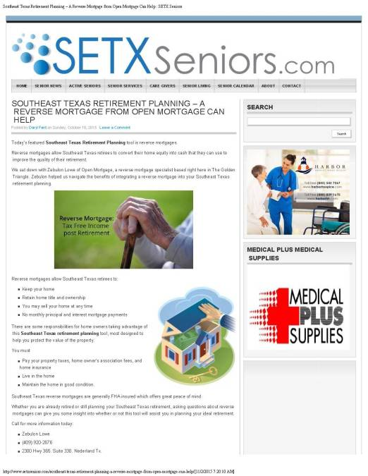 marketing Port Arthur, advertising Port Arthur, senior news Port Arthur