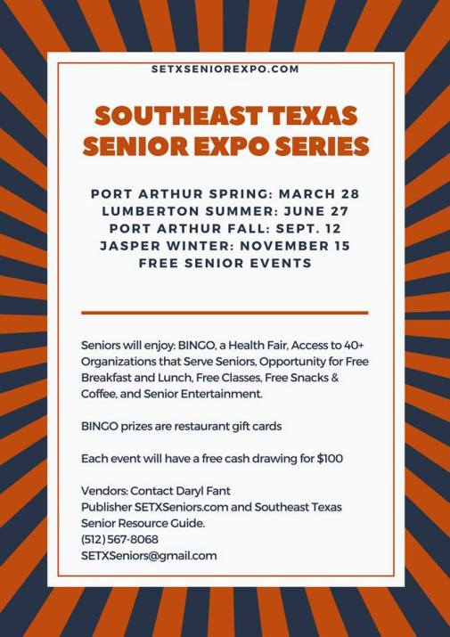 Southeast Texas Senior Expo, Southeast Texas Health Fair, Port Arthur Senior Expo, Port Arthur Health Fair, Jasper Senior Expo, Jasper Health Fair