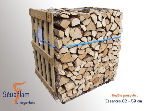 Bois bûche 1er choix mi-saison G2 50 cm - Sèvaflam - Bois de chauffage sur palette